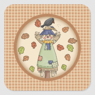 Cute Autumn Country Scarecrow on Tan Plaid Pattern Square Sticker