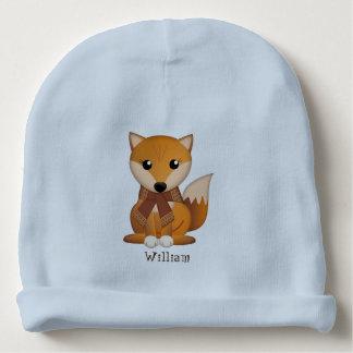Cute autumn fox and custom name baby beanie