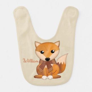 Cute autumn fox and custom name bib