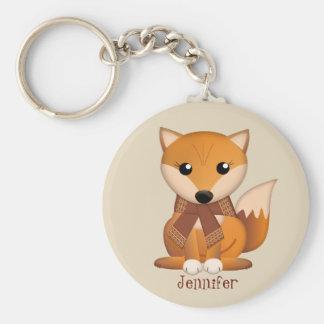 Cute autumn fox and custom name keychain