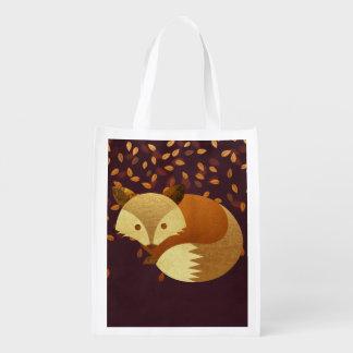 Cute Autumn Fox Grocery Bag