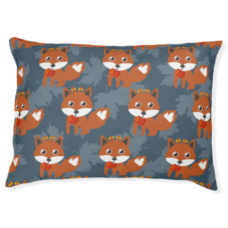Cute Autumn Fox Pattern Large Dog Bed