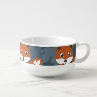 Cute Autumn Fox Pattern Soup Bowl With Handle
