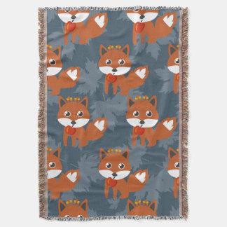 Cute Autumn Fox Pattern Throw Blanket