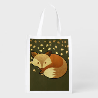 Cute Autumn Fox Reusable Grocery Bag