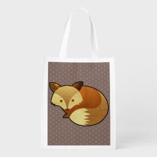 Cute Autumn Fox Reusable Grocery Bags