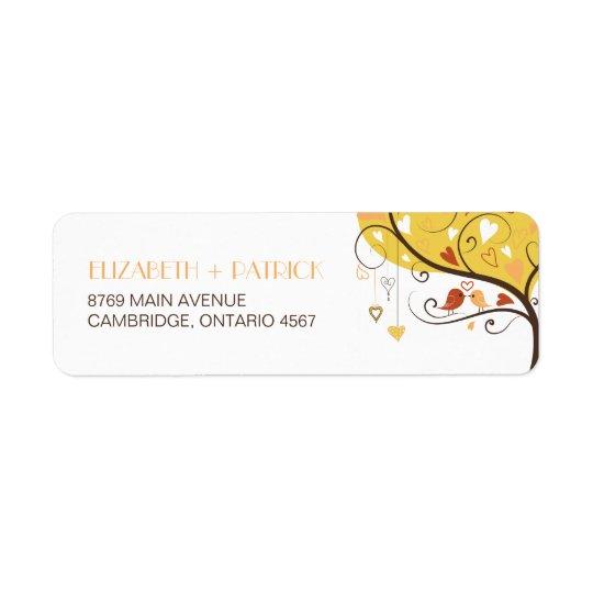 Cute Autumn Lovebirds Wedding Return Address Label