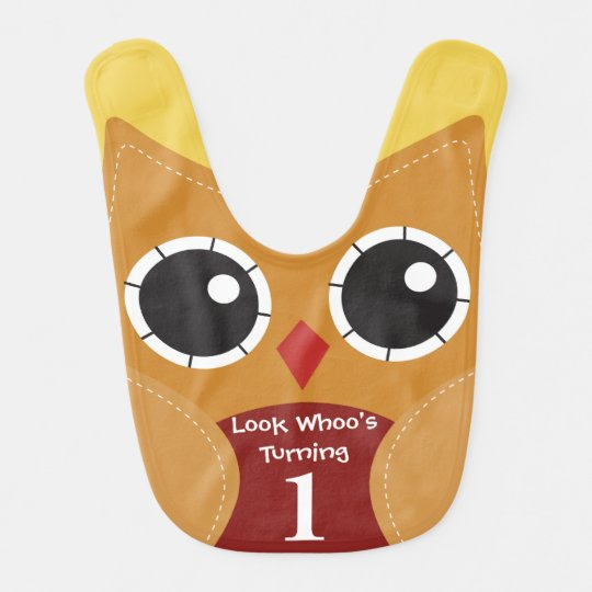 Cute Autumn Owl 1st Birthday Baby Bib