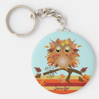 Cute Autumn owl and custom Name Keychain