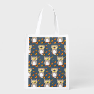 Cute Autumn Owl Pattern Grocery Bags