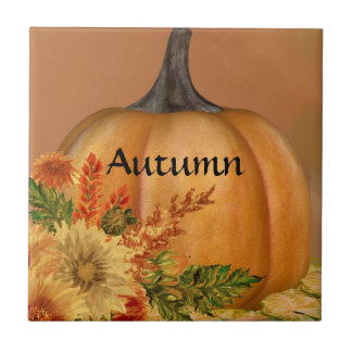 Cute Autumn Pumpkin Design Tiles