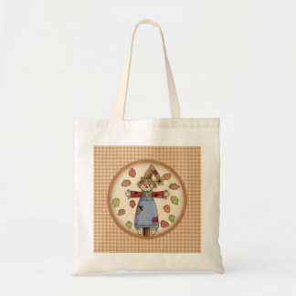 Cute Autumn Scarecrow on Plaid Pattern Background Tote Bag