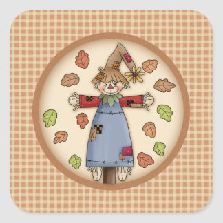 Cute Autumn Scarecrow on Plaid Pattern Background Stickers