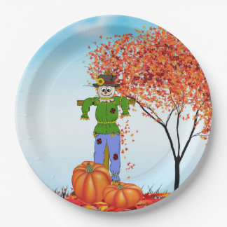 Cute Autumn Scarecrow Paper Plate 9 Inch Paper Plate