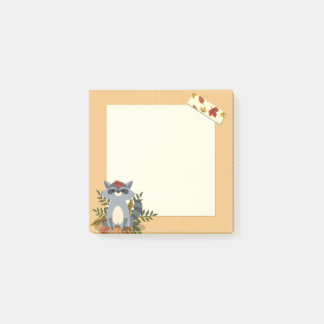 """Cute Autumn Time Raccoon 3"""" x 3"""" Post-it® Notes"""