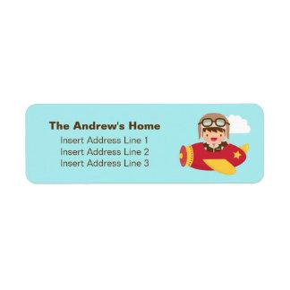Cute Aviator Boy Airplane Adventure For Boys Return Address Label