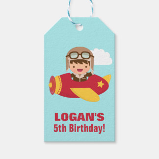 Cute Aviator Boy Airplane Birthday Party Pack Of Gift Tags