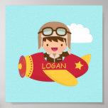 Cute Aviator Boy Airplane Boys Room Decor