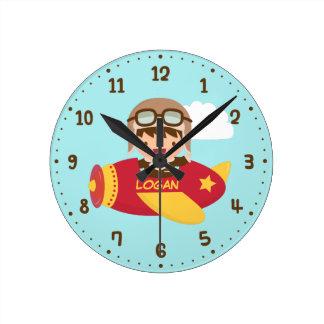 Cute Aviator Boy Airplane Kids Room Decor Wall Clocks