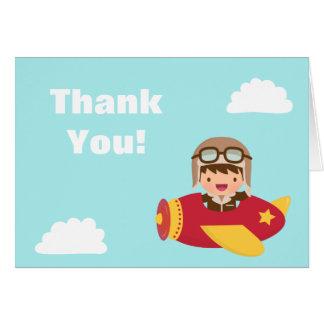 Cute Aviator Boy Airplane Thank You Greeting Card