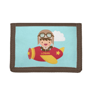 Cute Aviator in Airplane Boy Wallet