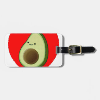 Cute Avocado In Red Heart Luggage Tag