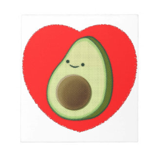 Cute Avocado In Red Heart Notepad