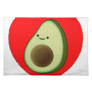 Cute Avocado In Red Heart Placemat