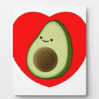 Cute Avocado In Red Heart Plaque
