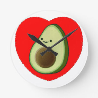 Cute Avocado In Red Heart Round Clock