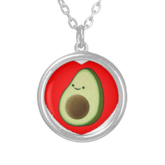 Cute Avocado In Red Heart Silver Plated Necklace