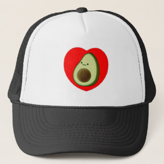 Cute Avocado In Red Heart Trucker Hat