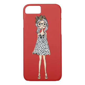 Cute Awkward Girl in Her Polka Dot Dress Case-Mate iPhone Case