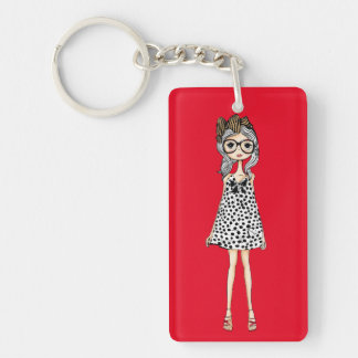 Cute Awkward Girl in Her Polka Dot Dress Keychain