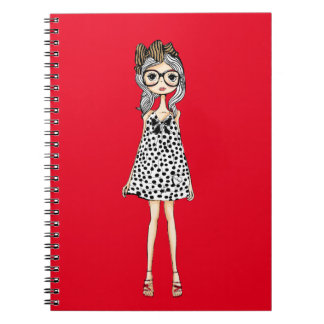 Cute Awkward Girl in Her Polka Dot Dress Notebook
