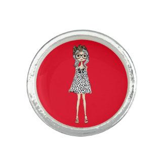 Cute Awkward Girl in Her Polka Dot Dress Photo Ring