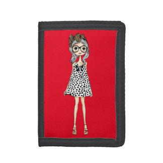 Cute Awkward Girl in Her Polka Dot Dress Tri-fold Wallets