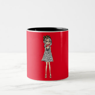 Cute Awkward Girl in Her Polka Dot Dress Two-Tone Coffee Mug