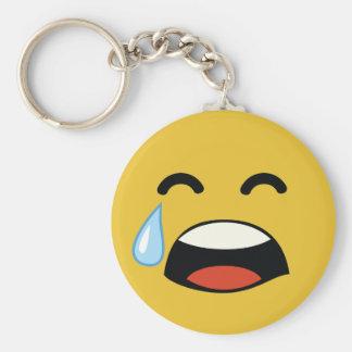 Cute aww don't cry emoji basic round button keychain
