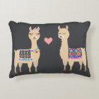 Cute Aztec Alpacas in Love Initial & Name Accent Pillow
