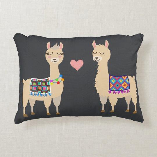 Cute Aztec Alpacas in Love Initial & Name Accent Pillow
