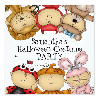 """Cute Babies Halloween Costume Party 5.25"""" Square Invitation Card"""