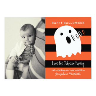 Cute Baby and Ghost Halloween Photo Invitation