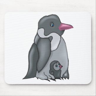 cute baby and mommy penguin mouse pad