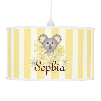 Cute Baby Animal Nursery | Kids Room Name Yellow Pendant Lamp