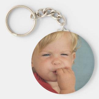 cute baby basic round button keychain