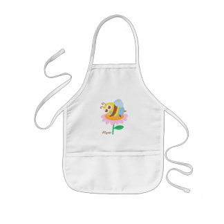 Cute baby bee resting on a pink flower kids apron
