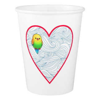 Cute baby bird in sweet red heart paper cup