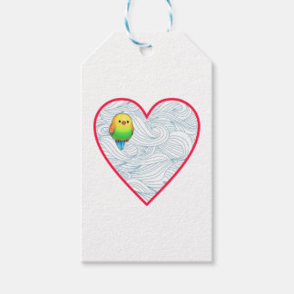 Cute baby birdie on sweet red heart pack of gift tags