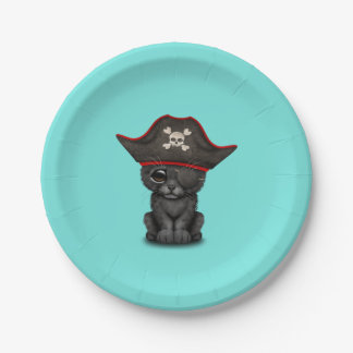 Cute Baby Black Panther Cub Pirate 7 Inch Paper Plate